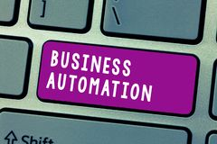 Conceptual hand writing showing Business Automation. Business photo text for Digital Transformation Streamlined for. Simplicity stock photo