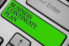 Conceptual hand writing showing Business Continuity Plan. Business photo showcasing creating systems prevention deal potential thr. Eats Keyboard green key stock photography