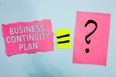 Conceptual hand writing showing Business Continuity Plan. Business photo showcasing creating systems prevention deal potential thr. Eats Pink paper equal sign stock images