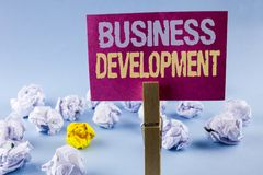 Conceptual hand writing showing Business Development. Business photo text Develop and Implement Organization Growth Opportunities. Written Sticky Note Paper Royalty Free Stock Images