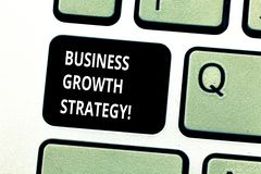 Conceptual hand writing showing Business Growth Strategy. Business photo showcasing Larger market share Market. Penetration Acquisition Keyboard key Intention stock photography