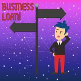 Conceptual hand writing showing Business Loan. Business photo text Loans provided to small businesses for various. Conceptual hand writing showing Business Loan royalty free illustration