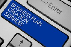 Conceptual hand writing showing Business Plan Creation Services. Business photo text paying for professional to create stock image