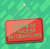 Conceptual hand writing showing Business Process Outsourcing. Business photo showcasing Contracting work to external. Service provider Blank Hanging Color Door vector illustration