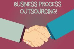 Conceptual hand writing showing Business Process Outsourcing. Business photo text Contracting work to external service. Provider Hu analysis Shaking Hands on royalty free illustration