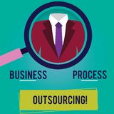 Conceptual hand writing showing Business Process Outsourcing. Business photo showcasing Contracting work to external. Service provider Magnifying Glass royalty free illustration
