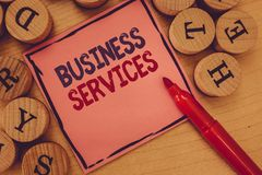 Conceptual hand writing showing Business Services. Business photo text Provides intangible products Bookkeeping IT royalty free stock images
