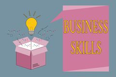 Conceptual hand writing showing Business Skills. Business photo showcasing An ability to acquire systematic effort of job function. S Royalty Free Illustration