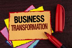 Conceptual hand writing showing Business Transformation. Business photo showcasing Making changes in conduction of the company Upg