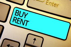Conceptual hand writing showing Buy Rent. Business photo showcasing choosing between purchasing something or paying for usage Keyb. Oard blue key Intention stock illustration