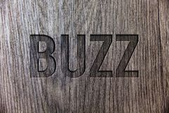 Conceptual hand writing showing Buzz. Business photo showcasing Hum Murmur Drone Fizz Ring Sibilation Whir Alarm Beep Chime Wooden. Background vintage wood royalty free stock images