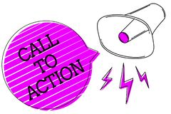 Conceptual hand writing showing Call To Action. Business photo text Encourage Decision Move to advance Successful strategy Megapho. Ne purple speech bubble royalty free illustration