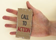 Conceptual hand writing showing Call To Action. Business photo text most important part of online digital marketing campaign writt Royalty Free Stock Photography