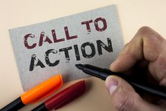 Conceptual hand writing showing Call To Action. Business photo text most important part of online digital marketing campaign writt Stock Images