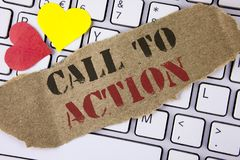 Conceptual hand writing showing Call To Action. Business photo text most important part of online digital marketing campaign writt Royalty Free Stock Photos