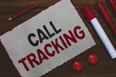 Conceptual hand writing showing Call Tracking. Business photo showcasing Organic search engine Digital advertising Conversion indi stock photos