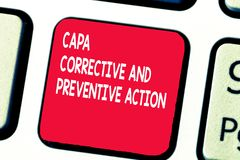 Conceptual hand writing showing Capa Corrective And Preventive Action. Business photo text Elimination of. Nonconformities royalty free stock image