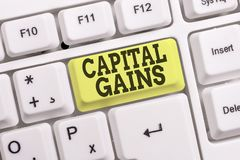 Conceptual hand writing showing Capital Gains. Business photo text Bonds Shares Stocks Profit Income Tax Investment Funds White pc