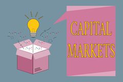 Conceptual hand writing showing Capital Markets. Business photo showcasing Allow businesses to raise funds by providing market sec. Urity stock illustration