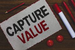 Conceptual hand writing showing Capture Value. Business photo showcasing Customer Relationship Satisfy Needs Brand Strength Retent. Ion White paper red borders royalty free stock photo
