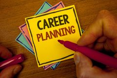Conceptual hand writing showing Career Planning. Business photo text Professional Development Educational Strategy Job Growth Text. Colorful paper notes hand stock images