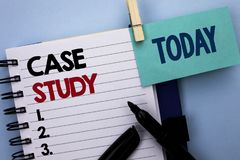 Conceptual hand writing showing Case Study. Business photo text Research Information Analysis Observe Learn Discuss Criteria writt. En Notebook Book plain Stock Image