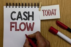 Conceptual hand writing showing Cash Flow. Business photo text Movement of the money in and out affecting the liquidity Man holdin. G marker notebook wooden royalty free stock photo