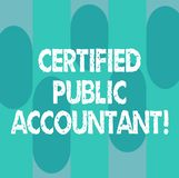Conceptual hand writing showing Certified Public Accountant. Business photo showcasing accredited professional body of accountants. Oblong Multi Tone Blank Copy stock illustration