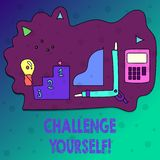 Conceptual hand writing showing Challenge Yourself. Business photo text Overcome Confidence Strong Encouragement Improvement Dare. Conceptual hand writing stock illustration