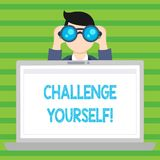 Conceptual hand writing showing Challenge Yourself. Business photo text Overcome Confidence Strong Encouragement Improvement Dare. Conceptual hand writing vector illustration