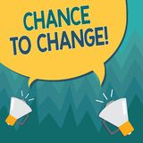 Conceptual hand writing showing Chance To Change. Business photo showcasing The opportunity for transformation New. Business Ideas vector illustration