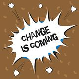 Conceptual hand writing showing Change Is Coming. Business photo text telling someone that future going to be different.  royalty free illustration