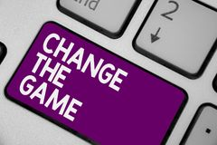 Conceptual hand writing showing Change The Game. Business photo showcasing Make a movement do something different new strategies K. Eyboard purple key computer stock photos