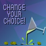 Conceptual hand writing showing Change Your Choice. Business photo text to improve ones behavior habits or beliefs by. Himself Cocktail Wine Glass Pouring with stock illustration