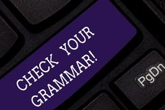 Conceptual hand writing showing Check Your Grammar. Business photo showcasing Contextual spelling correction punctuation royalty free stock photography