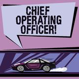 Conceptual hand writing showing Chief Operating Officer. Business photo showcasing responsible for the daily operation. Of the company Car with Fast Movement vector illustration