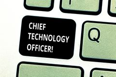 Conceptual hand writing showing Chief Technology Officer. Business photo showcasing focused on scientific and technological issues stock photography