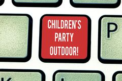 Conceptual hand writing showing Children S Is Party Outdoor. Business photo showcasing Kids festivity held outside the. House Keyboard key Intention to create stock images