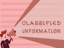 Conceptual hand writing showing Classified Information. Business photo showcasing Sensitive Data Top Secret Unauthorized Disclosur. E stock illustration