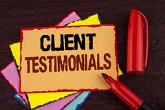 Conceptual hand writing showing Client Testimonials. Business photo showcasing Customer Personal Experiences Reviews Opinions Feed. Back written Sticky note Stock Image