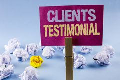 Conceptual hand writing showing Clients Testimonial. Business photo text Customers Personal Experiences Reviews Opinions Feedback. Written Sticky Note Paper Royalty Free Stock Photo