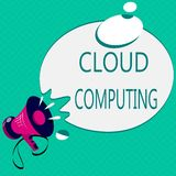 Conceptual hand writing showing Cloud Computing. Business photo text use a network of remote servers hosted on the Internet.  stock illustration