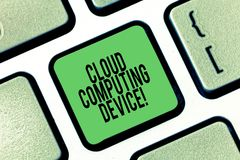 Conceptual hand writing showing Cloud Computing Device. Business photo showcasing Shared pools of configurable computer. System resource Keyboard key Intention vector illustration