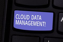 Conceptual hand writing showing Cloud Data Management. Business photo text A technique to analysisage data across cloud. Platforms Keyboard key Intention to stock photography