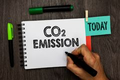 Conceptual hand writing showing Co2 Emission. Business photo showcasing Releasing of greenhouse gases into the atmosphere over tim. E Man holding marker notebook Royalty Free Stock Images