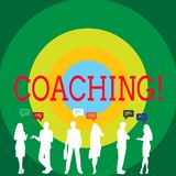 Conceptual hand writing showing Coaching. Business photo showcasing Prepare Enlightened Cultivate Sharpening Encourage. Conceptual hand writing showing Coaching royalty free illustration