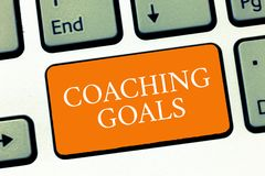 Conceptual hand writing showing Coaching Goals. Business photo text Empowers individuals Encourages them to take responsibility.  royalty free stock images