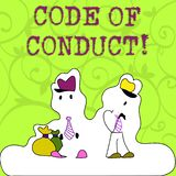 Conceptual hand writing showing Code Of Conduct. Business photo showcasing Follow principles and standards for business. Conceptual hand writing showing Code Of vector illustration