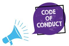 Conceptual hand writing showing Code Of Conduct. Business photo text Ethics rules moral codes ethical principles values respect Me. Gaphone loudspeaker speaking vector illustration