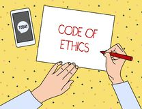 Conceptual hand writing showing Code Of Ethics. Business photo showcasing basic guide for professional conduct and. Conceptual hand writing showing Code Of royalty free illustration